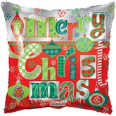 "Merry Christmas Ornaments Square 18"" Foil Balloon"