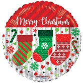 "Merry Christmas Stockings 18"" Foil Balloon"