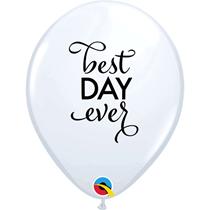"White Best Day Ever Script 11"" Wedding Latex Balloons 25pk"