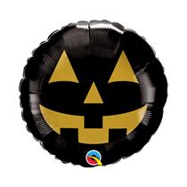 "Halloween Black & Gold Jack Face 9"" Foil Balloon"