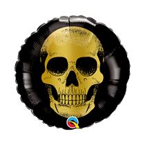 """Halloween Golden Skull Black 9"""" Foil Balloon"""