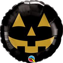 "Halloween Black & Gold Jack Face 18"" Foil Balloon"