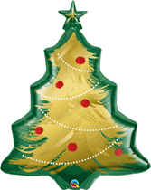 "Christmas Tree Brushed Gold 40"" Foil Balloon"