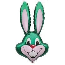 "Jumbo Green Rabbit Head 35"" Foil Balloon Pkgd"