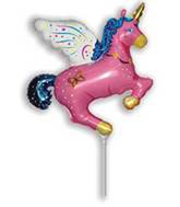 """Pink Flying Unicorn 16"""" Air Fill Foil Balloon (Loose)"""