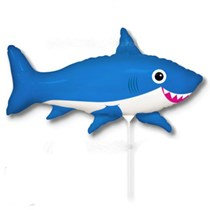"Blue Happy Shark 14"" Mini Shape Foil Balloon"