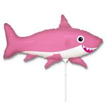 "Pink Happy Shark 14"" Mini Shape Foil Balloon"