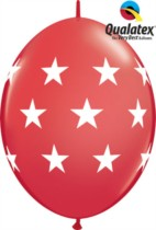 "12"" Big Stars Red Quick Link Latex Balloons - 50pk"