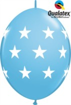 "12"" Big Stars Pale Blue Quick Link Latex Balloons - 50pk"