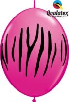 "12"" Wild Berry Zebra Stripes Quick Link Latex Balloons - 50pk"