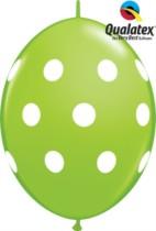 """12"""" Lime Green Big Polka Dots Quick Link Latex Balloons - 50pk"""