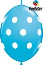 "12"" Robin's Egg Blue Big Polka Dots Quick Link Latex Balloons - 50pk"