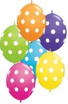"""12"""" Big Polka Dots Tropical Asst Quick Link Latex Balloons - 50pk"""