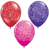 "11"" Red, Pink and Purple Balloons With Love Hearts - 25pk"