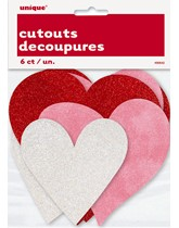 Glitter Heart Cut Out Decorations 6pk
