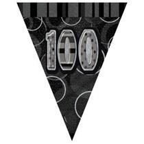 Black/Silver Glitz 100th Birthday Flag Banner 9ft