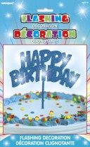 'Happy Birthday' Flashing Cake Decoration - Blue