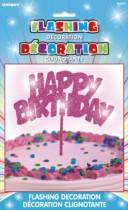 Happy Birthday Flashing Cake Decoration - Pink