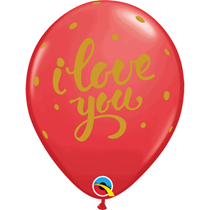 "Valentine's Red I Love You Script 11"" Latex Balloons 25pk"
