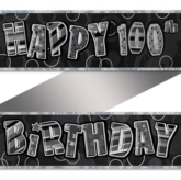 "Black/Silver Glitz ""Happy 100th Birthday"" Banner 9ft"