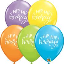"Pastel Assortment Hip Hip Hooray 11"" Latex Balloons 25pk"