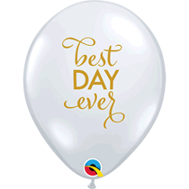 """Diamond Clear Best Day Ever Gold Script 11"""" Latex Balloons 25pk"""