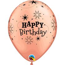 "Happy Birthday Sparkle Rose Gold 11"" Latex Balloons 6pk"