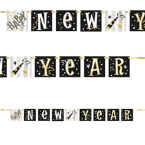 Happy New Year Black Gold Banner