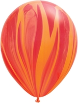"11"" Red Orange Rainbow SuperAgate Latex Balloons 25pk"