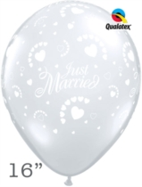 "Diamond Clear Just Married Hearts 16"" Latex Balloons 50pk"