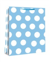 Medium Blue Polka Dot Gift Bags 6pk