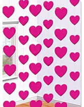 Valentine's Pink Love Heart Hanging String Decorations 6pk
