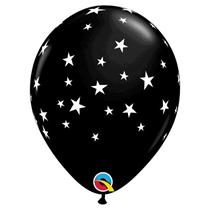 "Onyx Black With White Stars 11"" Latex Balloons"