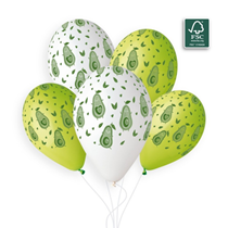 "White & Light Green Avocado 13"" Latex Balloons 50pk"