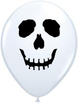 """White Skull Face 5"""" Latex Balloons 100pk"""