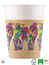Wildlife Rainbow Elephant 200ml Paper Cups 8pk