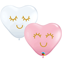 "Pink & White 11"" Heart Latex With Lashes 50pk"