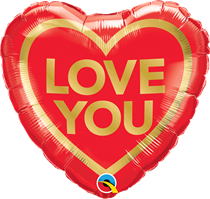 """Love You Valentine's Gold Heart 18"""" Foil Balloon"""