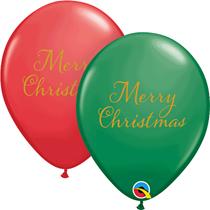 "Merry Christmas Gold Script Red & Green 11"" Latex 25pk"