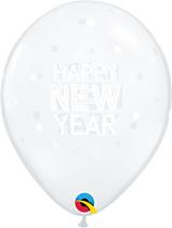 "New Year Sparkles & Dots Diamond Clear 11"" Latex 25pk"