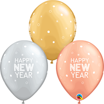"""New Year Rose Gold, Silver & Gold 11"""" Latex Balloons 25pk"""