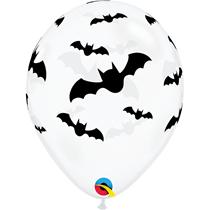 "Halloween Bats Diamond Clear 11"" Latex Balloons 25pk"