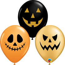 "Halloween Jack Faces 11"" Assorted Latex Balloons 25pk"