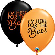 "Halloween Black & Orange Boos 11"" Latex Balloons 25pk"
