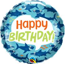 "Happy Birthday Ocean Sharks 18"" Foil Balloon"