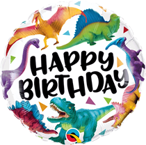 "Happy Birthday Colourful Dinosaurs 18"" Foil Balloon"