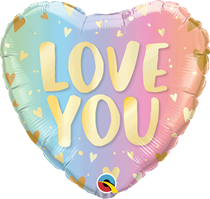 "Love You Pastel Ombre 18"" Heart Foil Balloon"