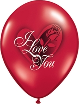 """Valentine's Day Red I love you Roses 11"""" Latex Balloons 25pk"""