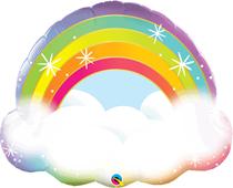 "Sparkling Rainbow & Cloud 32"" Foil Balloon"