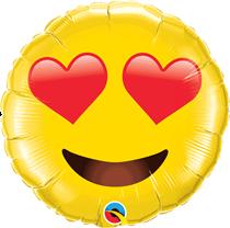 """Smiley Face Heart Eyes Emoji 28"""" Foil Balloon"""